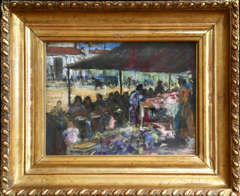 Figures in a Market - Fauvist Pastel, Women in Market by Alexandre Altmann For Sale 1