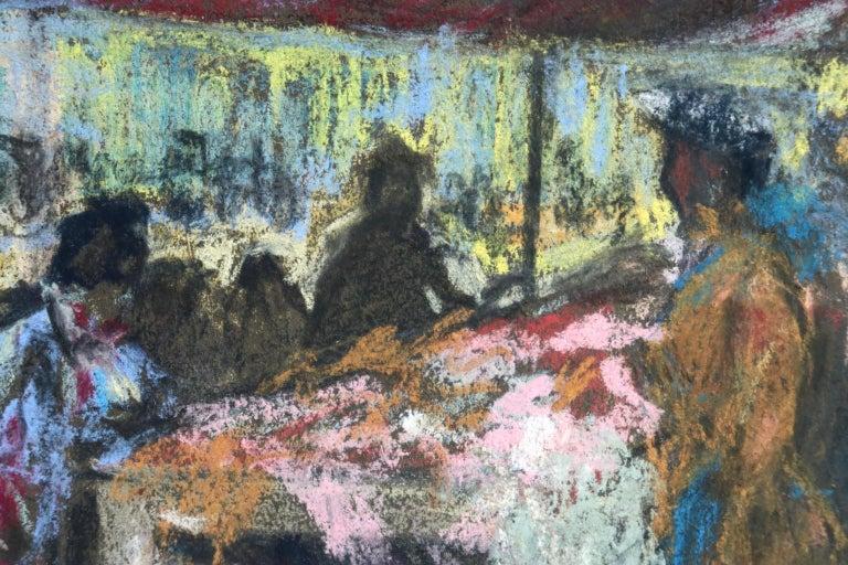 Figures in a Market - Fauvist Pastel, Women in Market by Alexandre Altmann For Sale 2