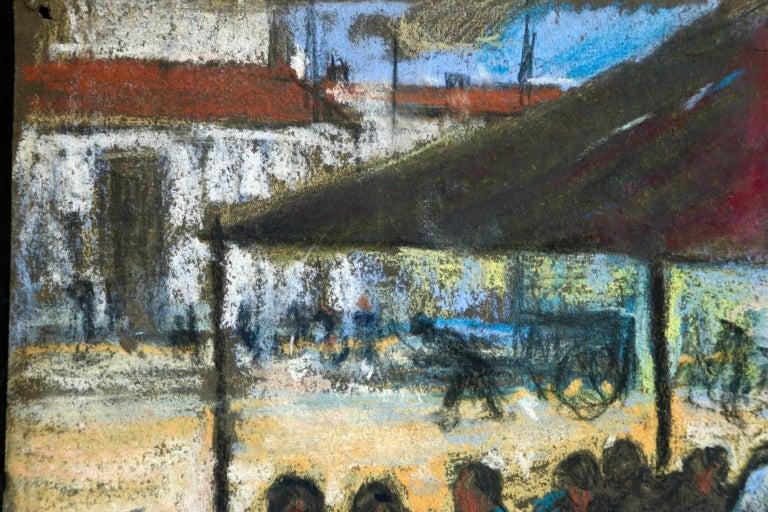 Figures in a Market - Fauvist Pastel, Women in Market by Alexandre Altmann For Sale 5