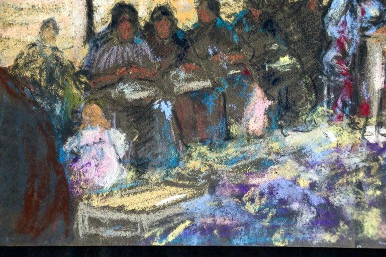 Figures in a Market - Fauvist Pastel, Women in Market by Alexandre Altmann For Sale 7