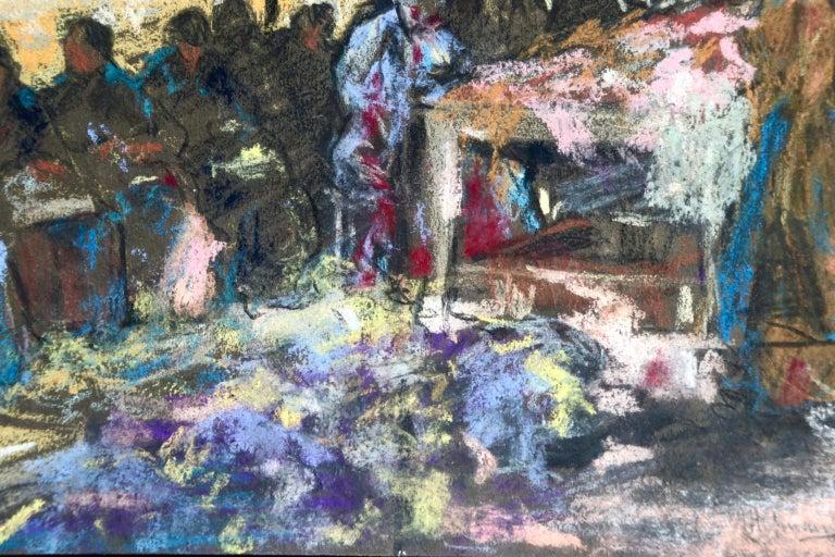 Figures in a Market - Fauvist Pastel, Women in Market by Alexandre Altmann For Sale 8
