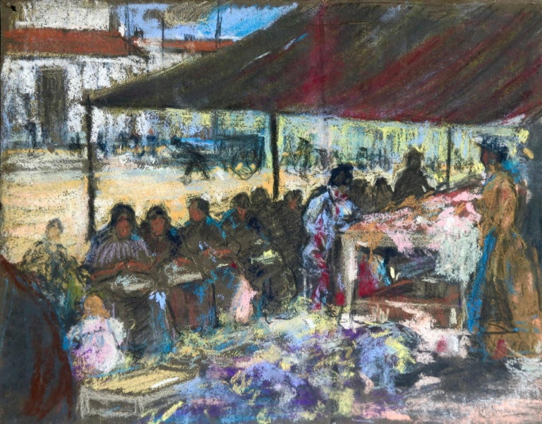 A beautiful pastel on brown paper circa 1910 by the Russian born painter Alexandre Altmann depicting seamstresses on a market stall. Signed lower right.  Provenance:  From the collection of the Italian impressionist painter Bernardo Biancale