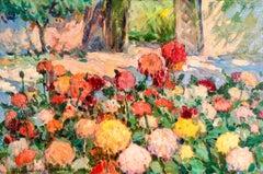 Fleurs dans un parc - Post Impressionist Oil, Flowers in Landscape by A Altmann