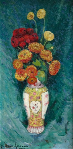 Fleurs - French Post-Impressionist Oil, Still Life Vase of Flowers by A Altmann