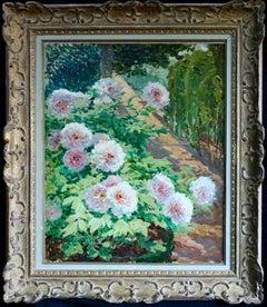 Pivoines dans le Jardin - 20th Century Flowers in Garden Landscape by A Altmann