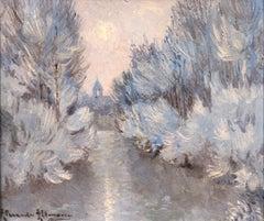 Snow - Post Impressionist Oil, Winter River Landscape by Alexandre Altmann