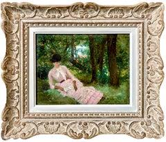 19th century French impressionist painting - L'élégante - Garden Woman Monet