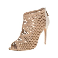 Alexandre Birman Beige Nude Leather And Canvas Caged Sandals Size 38