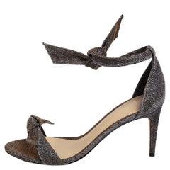 Alexandre Birman Black/Gold Lurex Fabric Clarita Bow Ankle Wrap Sandals Size 38