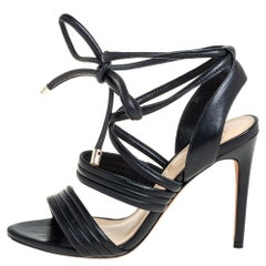 Alexandre Birman Black Leather Aurora Ankle Wrap Sandals Size 36