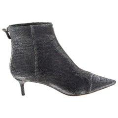 ALEXANDRE BIRMAN black & silver LAME KITTIE 50 Ankle Boots Shoes 38.5