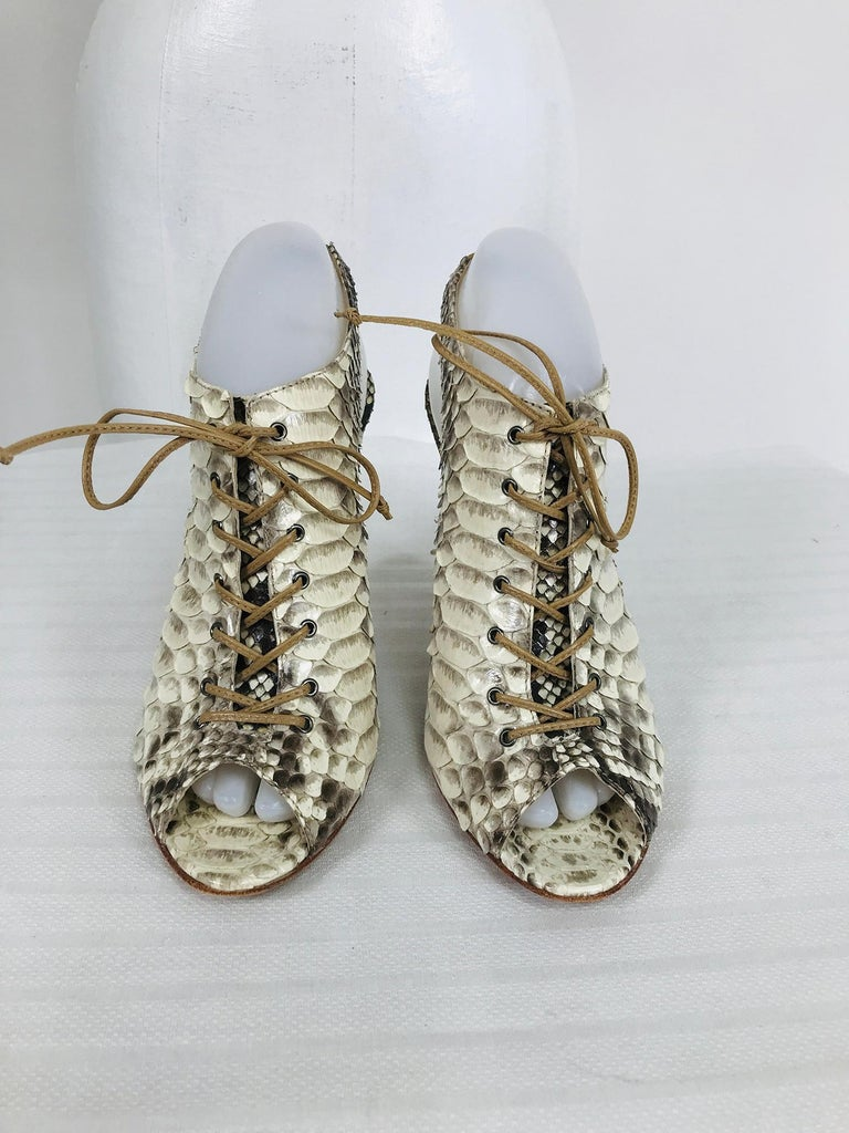 Brown Alexandre Birman Python Laced Front Open Toe Sling Back High Heels 9B For Sale