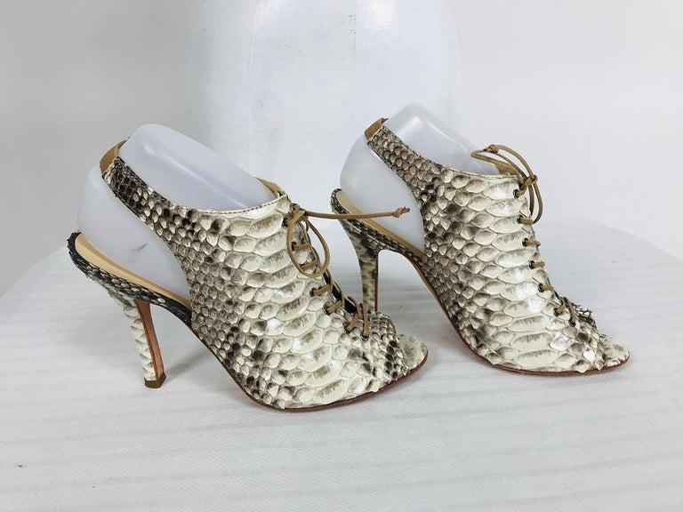 Women's Alexandre Birman Python Laced Front Open Toe Sling Back High Heels 9B For Sale