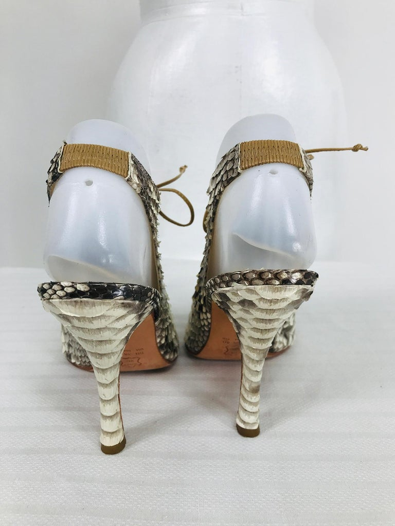 Alexandre Birman Python Laced Front Open Toe Sling Back High Heels 9B For Sale 1