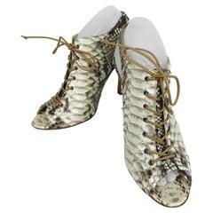 Alexandre Birman Python Laced Front Open Toe Sling Back High Heels 9B