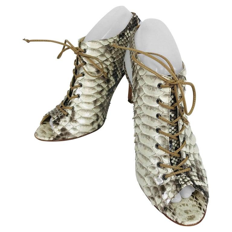 Alexandre Birman Python Laced Front Open Toe Sling Back High Heels 9B For Sale