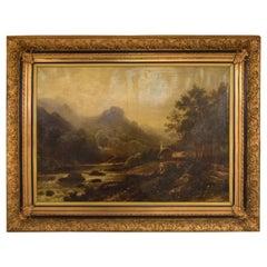 Alexandre Calame, Swiss painter, 1810-1864, Oil on Canvas, River Landscape