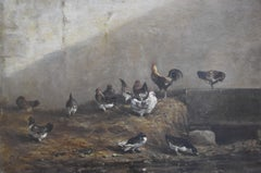 Alexandre Gabriel Decamps (1803-1860) Hens and ducks in a poulty yard, oil