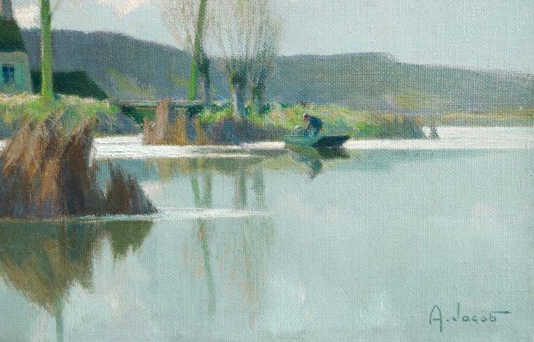 Bords d'Etang sur la Marne - Impressionist Oil, River in Landscape by A Jacob - Painting by Alexandre Louis Jacob