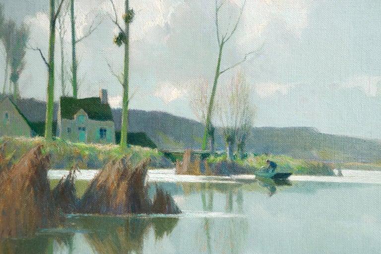 Bords d'Etang sur la Marne - Impressionist Oil, River in Landscape by A Jacob - Gray Figurative Painting by Alexandre Louis Jacob