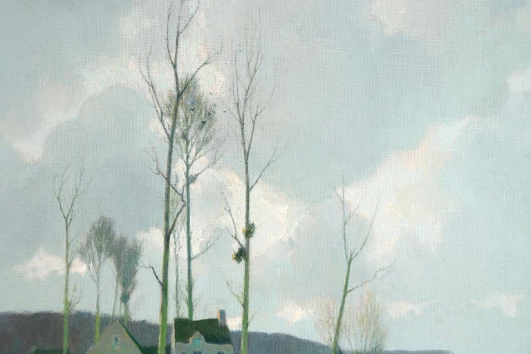 Bords d'Etang sur la Marne - Impressionist Oil, River in Landscape by A Jacob 1