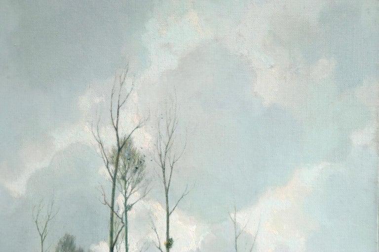 Bords d'Etang sur la Marne - Impressionist Oil, River in Landscape by A Jacob 2