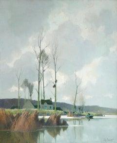 Bords d'Etang sur la Marne - Impressionist Oil, River in Landscape by A Jacob