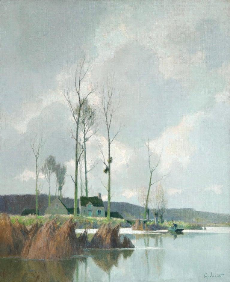 Alexandre Louis Jacob Figurative Painting - Bords d'Etang sur la Marne - Impressionist Oil, River in Landscape by A Jacob
