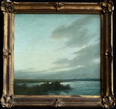 Crescent Moon Over The Marshes - Signed oil on board by Alexandre Jacob
