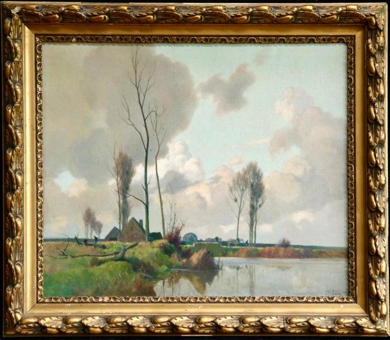 Eclaircie sur le Marais - Environs d'Amiens - Impressionist Landscape  - A Jacob - Painting by Alexandre Louis Jacob