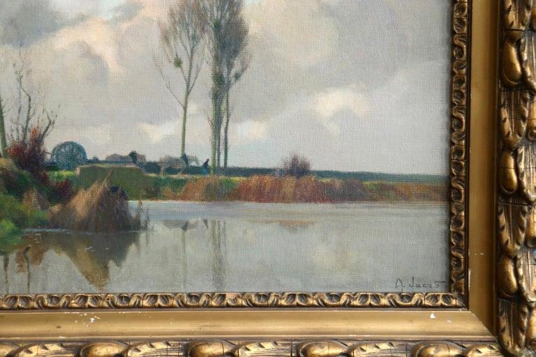 Eclaircie sur le Marais - Environs d'Amiens - Impressionist Landscape  - A Jacob For Sale 1