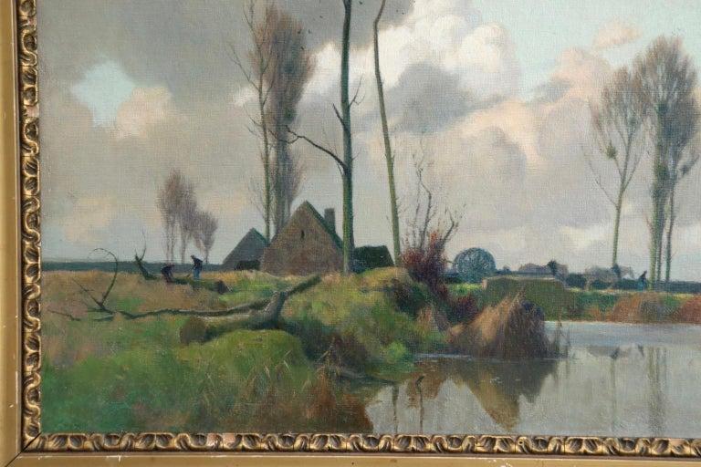 Eclaircie sur le Marais - Environs d'Amiens - Impressionist Landscape  - A Jacob For Sale 2