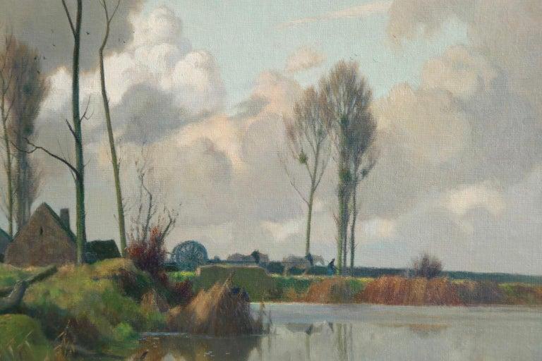 Eclaircie sur le Marais - Environs d'Amiens - Impressionist Landscape  - A Jacob For Sale 3