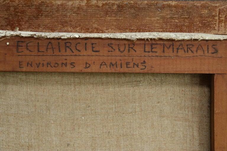 Eclaircie sur le Marais - Environs d'Amiens - Impressionist Landscape  - A Jacob For Sale 5