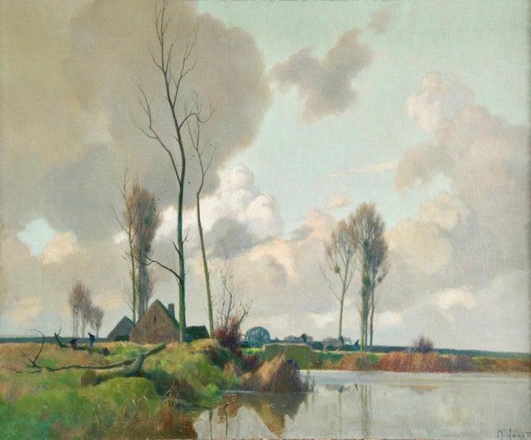Alexandre Louis Jacob Landscape Painting - Eclaircie sur le Marais - Environs d'Amiens - Impressionist Landscape  - A Jacob