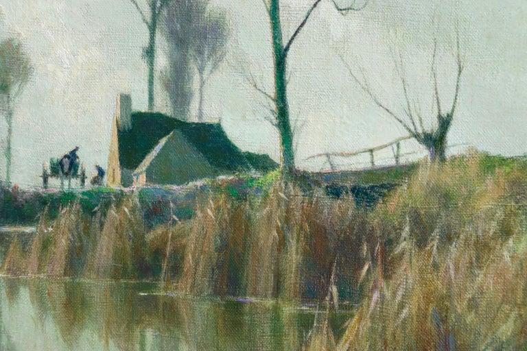 Eclaircie sur le Marais - Impressionist Oil, River in Landscape by A Jacob - Painting by Alexandre Louis Jacob