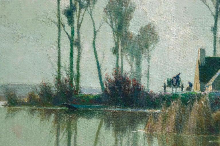 Eclaircie sur le Marais - Impressionist Oil, River in Landscape by A Jacob For Sale 1