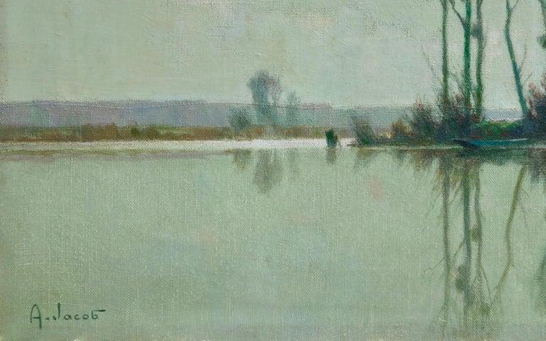 Eclaircie sur le Marais - Impressionist Oil, River in Landscape by A Jacob For Sale 2