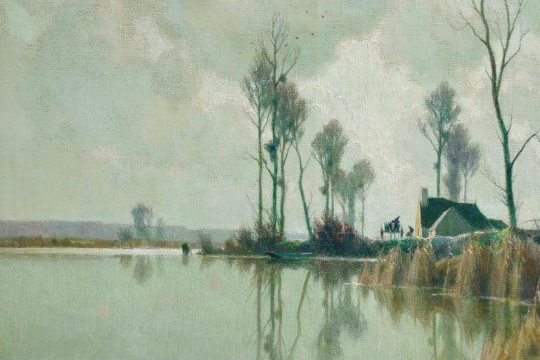 Eclaircie sur le Marais - Impressionist Oil, River in Landscape by A Jacob For Sale 3