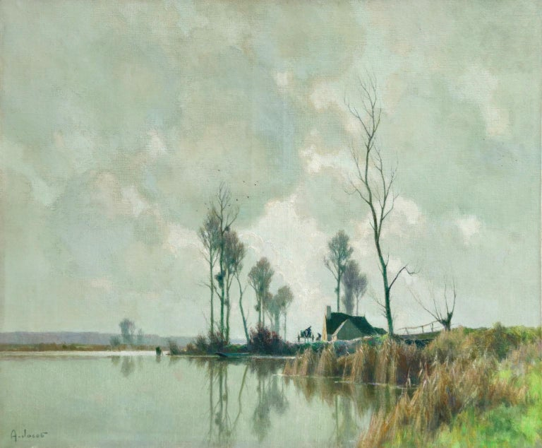 Alexandre Louis Jacob Figurative Painting - Eclaircie sur le Marais - Impressionist Oil, River in Landscape by A Jacob