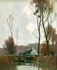 Novembre a la Reserve - Impressionist Oil, River in Landscape by Alexandre Jacob
