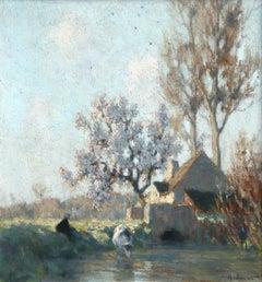 Printemps - L'Abreuvoir - Impressionist Oil, Spring Landscape by Alexandre Jacob