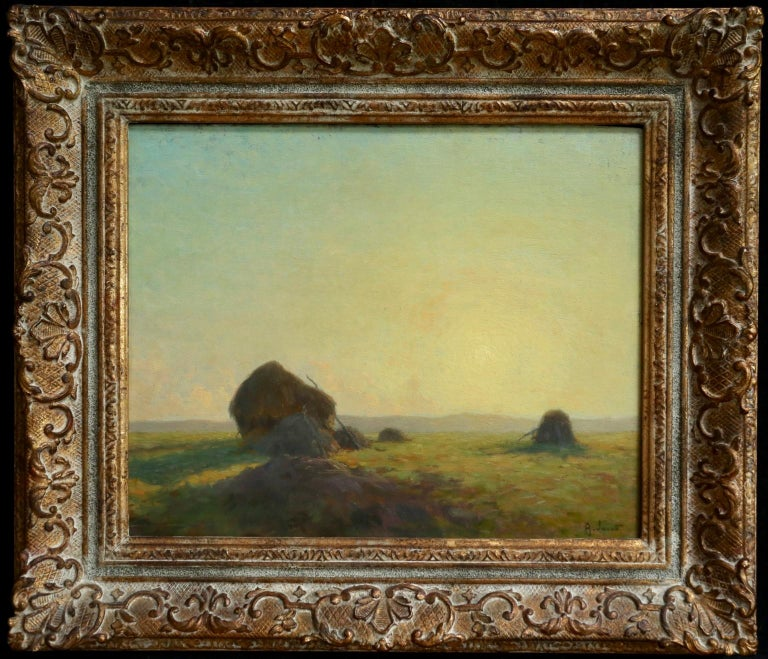 A superb oil on panel by French impressionist painter Alexandre Louis Jacob depicting haystacks in a landscape at sunset. Beautifully painted and coloured. Signed lower right and stamped 1913 verso.  Dimensions: Framed: 19