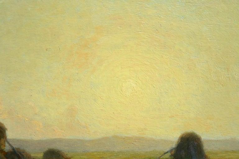 Sunset - Hayfields - Impressionist Oil, Haystacks in Landscape - Alexandre Jacob For Sale 1