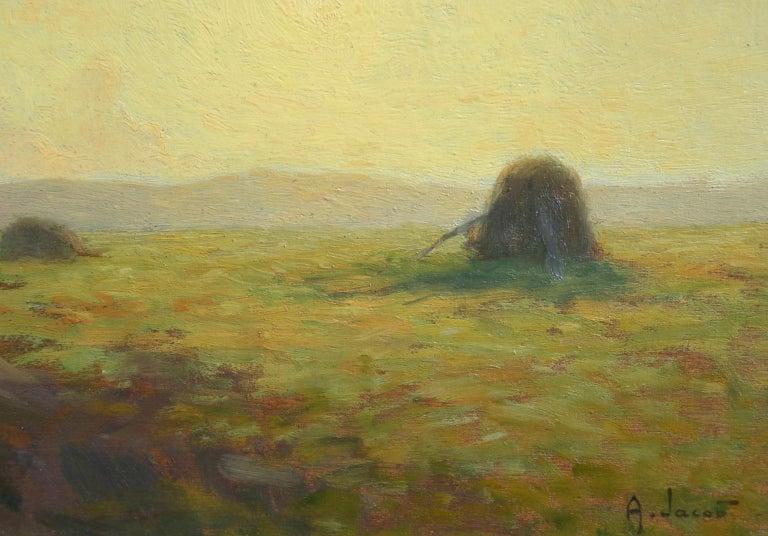 Sunset - Hayfields - Impressionist Oil, Haystacks in Landscape - Alexandre Jacob For Sale 2