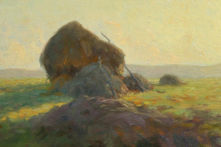 Sunset - Hayfields - Impressionist Oil, Haystacks in Landscape - Alexandre Jacob For Sale 3