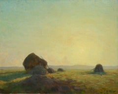 Sunset - Hayfields - Impressionist Oil, Haystacks in Landscape - Alexandre Jacob