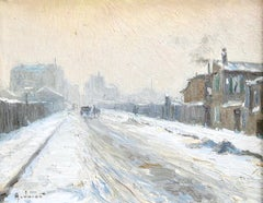 """Winter"" Jacob C.19th French Impressionist White Snow Street Scene Landscape"