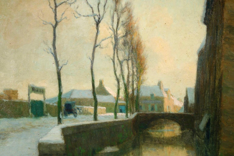 Winter Sunset - Impressionist Oil, River in Snowy Landscape by Alexandre Jacob 2
