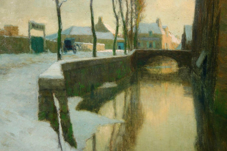 Winter Sunset - Impressionist Oil, River in Snowy Landscape by Alexandre Jacob 3